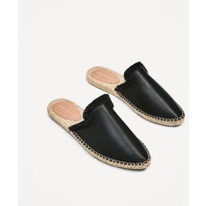 Zara Black Leather Espadrille Mule Slides